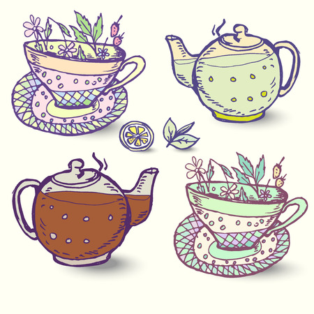 decoction: Vector illustration with the image herbal Tea set of elements for design.