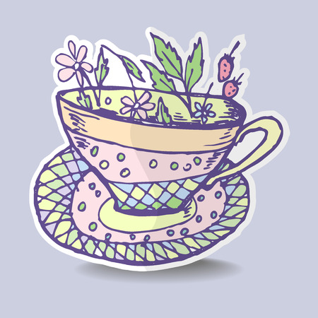 Vector illustration with the image of a cup of herbal tea, sticker, emblem, badge. Vector