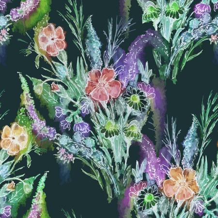 ramo de flores: Vector gr�fico, art�stico, imagen rom�ntica de patr�n transparente flores ramo de la acuarela