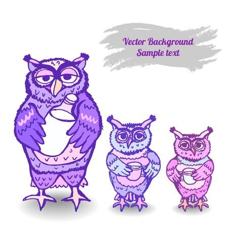 Vector greeting card, background with the image of an owl with a chick. Space for text. Vector