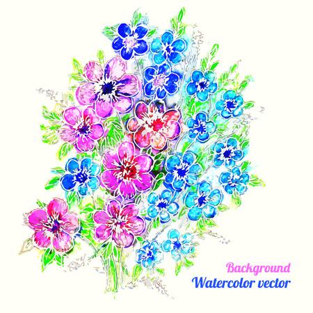 ramo de flores: Tarjeta de la acuarela rom�ntica con las flores del ramo. Tarjetas de felicitaci�n de la decoraci�n de dise�o, invitaciones de boda, boda, nupcial, cumplea�os. Ilustraci�n del vector. Vectores