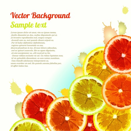 Vector greeting card, background with the image slices of orange, lemon, lime. Can be used to design advertising citrus. Space for text. Illustration
