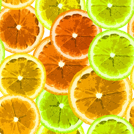 lemon lime: Bright seamless vector pattern with the image slices of lemon, lime, orange. Can be used to design fabrics, wallpaper, wrapping paper. Illustration
