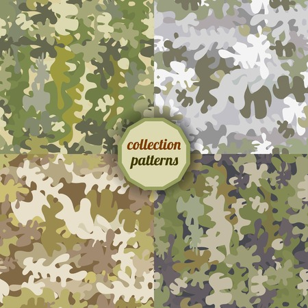 camouflage pattern: Set of Vector graphics, artistic, stylized  seamless pattern with the image camouflage. Pattern can be used for fabric design, wallpaper, wrapping papers.