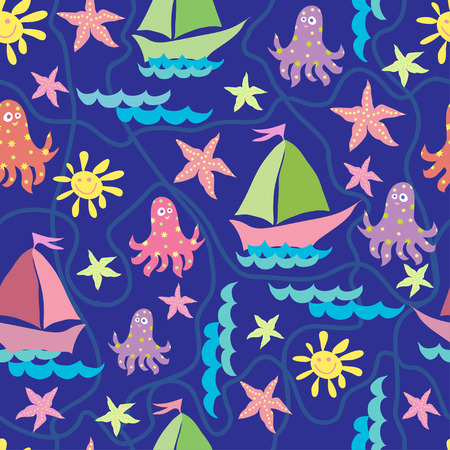 Vector graphics, artistic, stylized seamless pattern on the theme of the sea with a ship, octopus and sun. Pattern can be used for fabric design, wallpaper, wrapping papers.