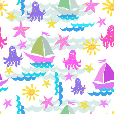 ector graphics, artistic, stylized seamless pattern on the theme of the sea with a ship, octopus and sun. Pattern can be used for fabric design, wallpaper, wrapping papers.