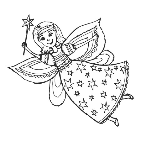 pixy: hand drawn, cartoon, sketch illustration of fairy with a magic wand.