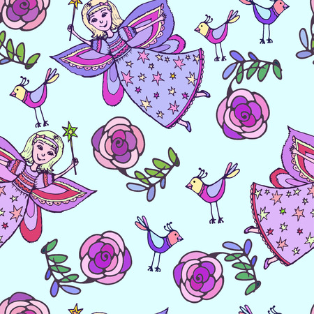 pixy: Vector graphics, artistic, stylized  seamless pattern sketch illustration of  fairy with a magic wand with a bird and roses.