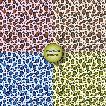sensory perception: Set of  Vector seamless pattern. Design animal print pattern texture skins leopard. Can be used for design pattern fabric, wallpaper, wrapping paper.