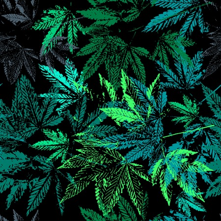 Vector graphics, artistic, stylized  seamless pattern with the image of the leaves of cannabis. Pattern can be used for fabric design, wallpaper, wrapping papers. Ilustração