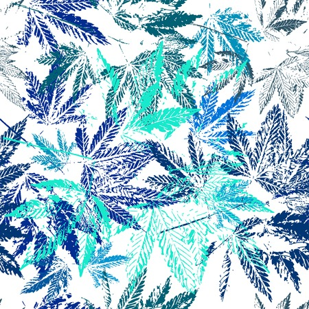 foliate: Vector graphics, artistic, stylized  seamless pattern with the image of the leaves of cannabis. Pattern can be used for fabric design, wallpaper, wrapping papers. Illustration