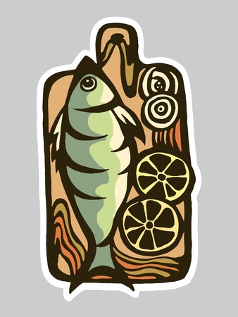 logo poisson: Vector drawing of a kitchen board with a fish. logo for the fish menu restaurant.
