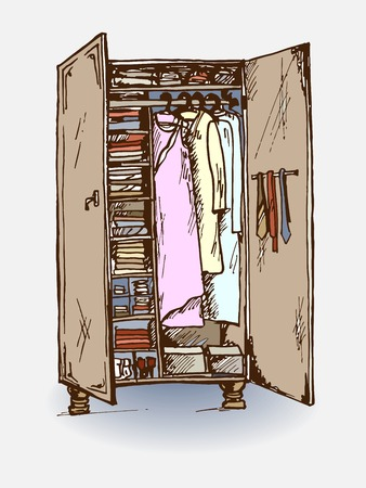habiliment: Vector graphic, artistic, stylized image of  wardrobe closet