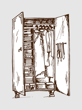 togs: Vector graphic, artistic, stylized image of  wardrobe closet