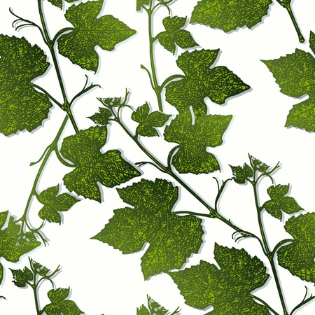 grape leaves: graphic, artistic, stylized image of seamless pattern branches of grape leaves