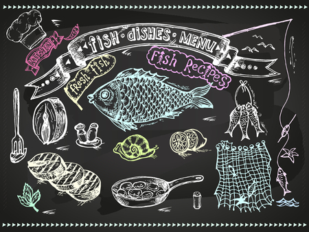 crucian: Set design for cooking - fish and seafood on a blackboard