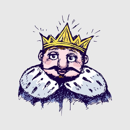 mantle: image of the king in the crown and mantle. Stylized image of a sketch, paint pen.