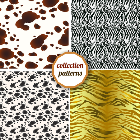 dalmatian: Set of seamless pattern. Set Design animal print pattern texture skins tiger, Dalmatian and zebra. Can be used for design pattern fabric, wallpaper, wrapping paper. Stock Photo