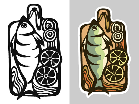 black board: set of drawings on the blackboard fish. icon for the fish restaurant menu. Stock Photo