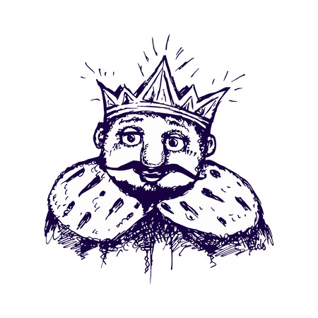 old man portrait: image of the king in the crown and mantle. Stylized image of a sketch, paint pen.