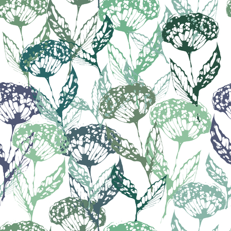 an inflorescence: graphic, artistic, stylized image of seamless pattern Decorative seamless pattern inflorescence, dill, fennel