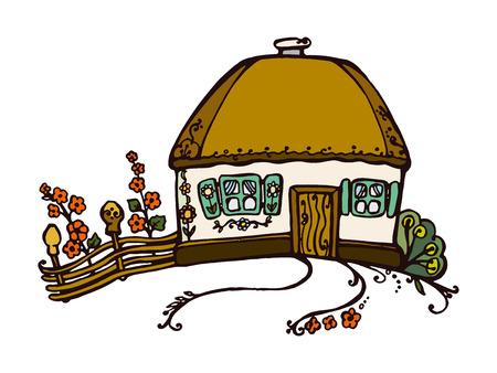 hut: illustration of Ukrainian hut image. The symbol of the Ukrainian village. Eco-friendly housing, wattle and daub hut