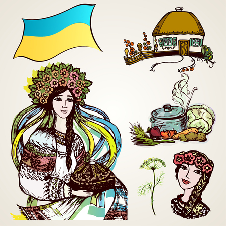 drawings image: A set of drawings of Ukrainian characters. graphic, artistic, stylized image of Ukraine, welcome! Stock Photo