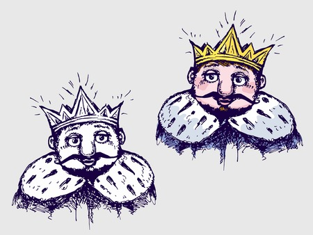 mantle: Set for design image of the king in the crown and mantle. Stylized image of a sketch