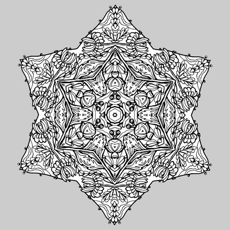 magen david: Vector Image Doodle, drawing for coloring the mandala. hexagonal pattern. Magen David. It can be used as a decorative design element for coloring books.