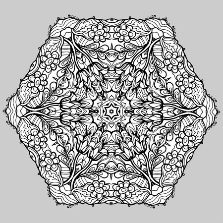 magen: Vector Image Doodle, drawing for coloring the mandala. hexagonal pattern. Magen David. It can be used as a decorative design element for coloring books.