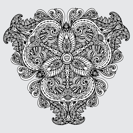 intricacy: Vector Image Doodle, drawing for coloring the mandala. triangular pattern. It can be used as a decorative design element for coloring books.