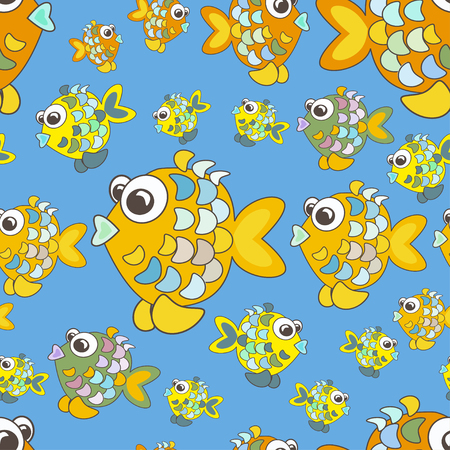 pond life: Seamless pattern colorful fish. Can be used for design pattern fabric, wallpaper, wrapping paper.