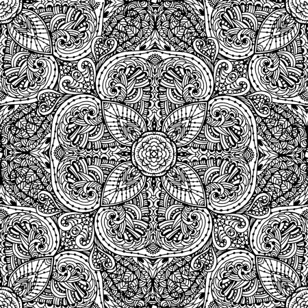 Black and white seamless pattern of abstract flowers.  Vintage flowers Art. The pattern on a white background Иллюстрация