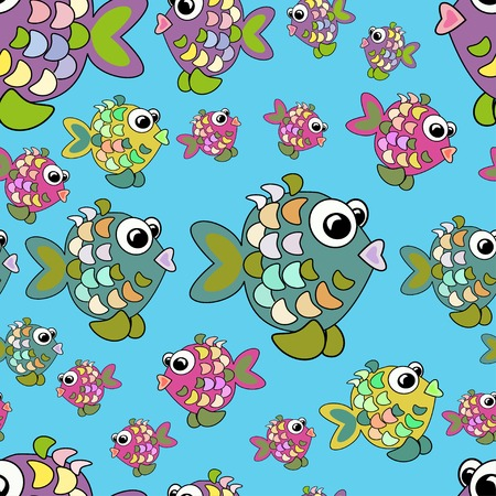 Seamless pattern colorful fish. Can be used for design pattern fabric, wallpaper, wrapping paper.