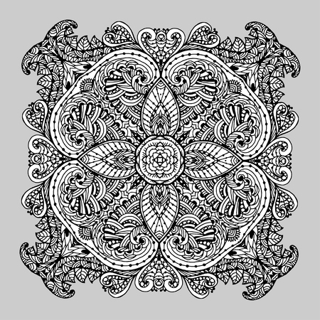Vectoriel Doodle, dessin pour colorer le mandala. ornement Square. Il peut être utilisé comme un élément de design décoratif pour des livres de coloriage. Banque d'images - 56918458