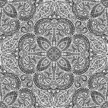 Noir et blanc seamless pattern de fleurs abstraites. fleurs Vintage Art. Le motif sur un fond blanc Banque d'images - 56918460