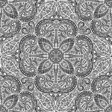 Black and white seamless pattern of abstract flowers.  Vintage flowers Art. The pattern on a white background Illustration