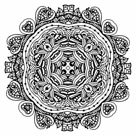 Vectoriel Doodle, dessin pour colorer le mandala. ornement Square. Il peut être utilisé comme un élément de design décoratif pour des livres de coloriage. Banque d'images - 56918461