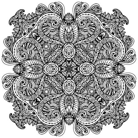Vectoriel Doodle, dessin pour colorer le mandala. ornement Square. Il peut être utilisé comme un élément de design décoratif pour des livres de coloriage. Banque d'images - 56918462