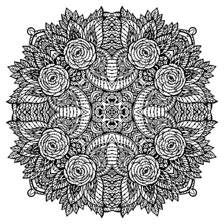 Vector Image Doodle, drawing for coloring the mandala. Magen David. It can be used as a decorative design element for coloring books. Illustration