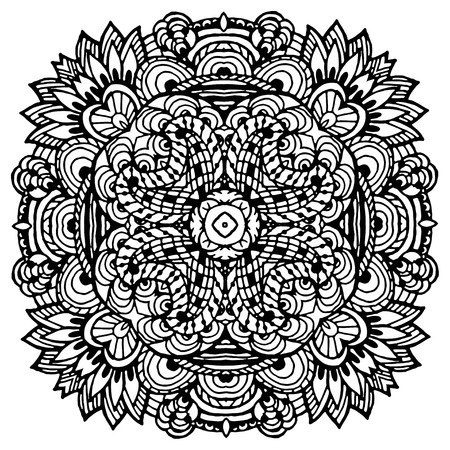 Vector Image Doodle, drawing for coloring the mandala. Square ornament. It can be used as a decorative design element for coloring books. Illustration