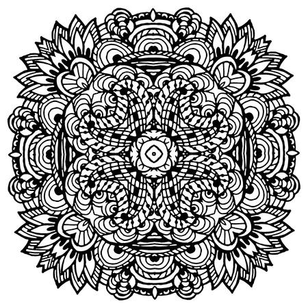 Vectoriel Doodle, dessin pour colorer le mandala. ornement Square. Il peut être utilisé comme un élément de design décoratif pour des livres de coloriage. Banque d'images - 56918467
