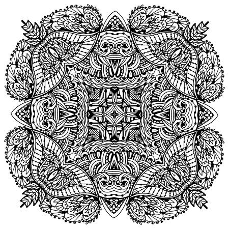 Vectoriel Doodle, dessin pour colorer le mandala. ornement Square. Il peut être utilisé comme un élément de design décoratif pour des livres de coloriage. Banque d'images - 66668204