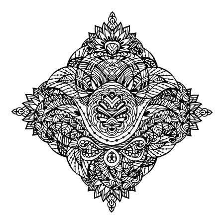 Vector Image Doodle, drawing for coloring the floral motif. It can be used as a decorative design element for coloring books.