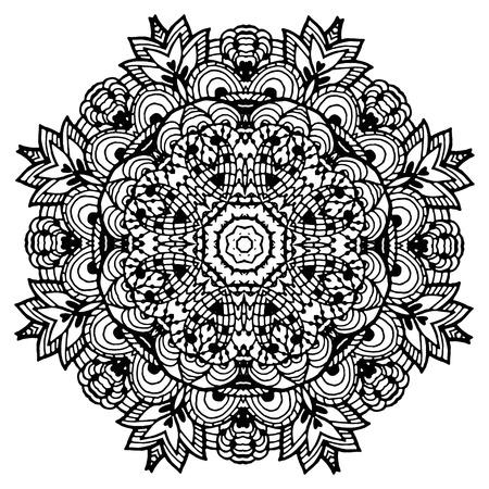 Vectoriel Doodle, dessin pour colorer le mandala. ornement Square. Il peut être utilisé comme un élément de design décoratif pour des livres de coloriage. Banque d'images - 66603238