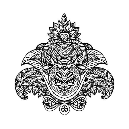 Vectoriel Doodle, dessin pour colorer le motif floral. Il peut être utilisé comme un élément de design décoratif pour des livres de coloriage. Banque d'images - 66603237