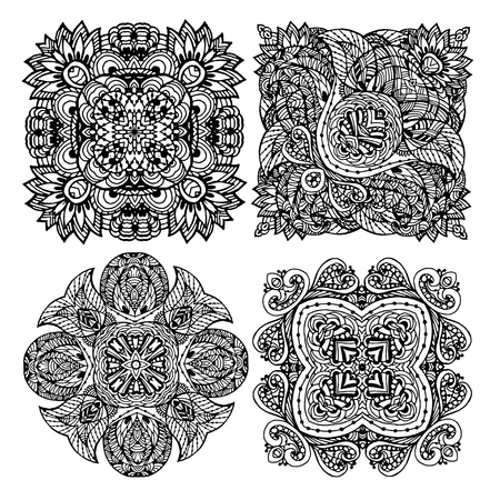 Set of Vector Image Doodle, drawing for coloring the mandala. Square ornament. It can be used as a decorative design element for coloring books.