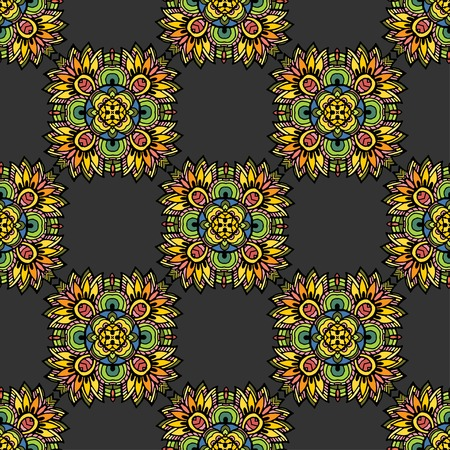 Vector graphic, artistic, Decorative seamless pattern with stylized flowers Illustration