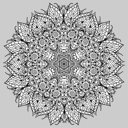 Vectoriel Doodle, dessin pour colorer le motif floral. Il peut être utilisé comme un élément de design décoratif pour des livres de coloriage. Banque d'images - 66603245