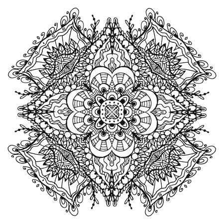 Vectoriel Doodle, dessin pour colorer le mandala. ornement Square. Il peut être utilisé comme un élément de design décoratif pour des livres de coloriage. Banque d'images - 76241597